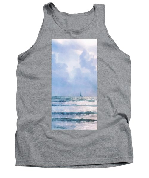 Tank Top featuring the digital art Sail At Sea by Francesa Miller