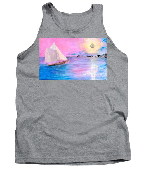 Sailboat In Pink Moonlight  Tank Top