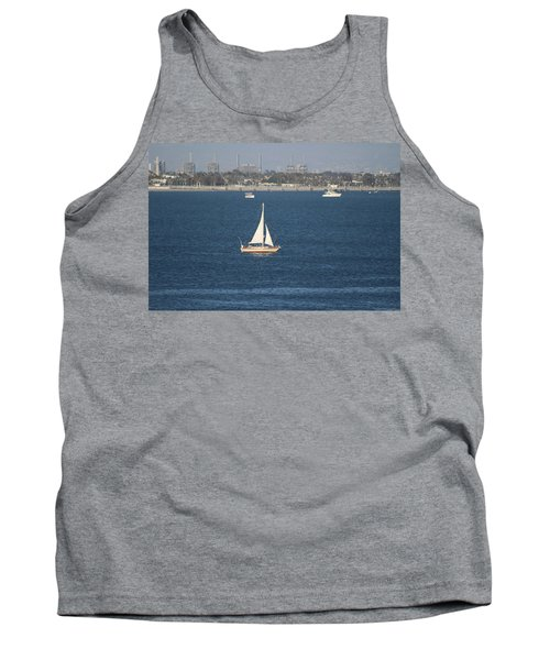 Sailboat On The Pacific In Long Beach Tank Top