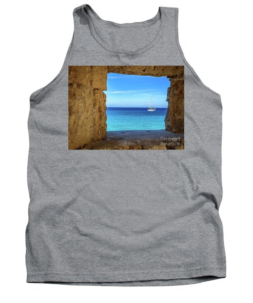 Sailboat Through The Old Stone Walls Of Rhodes, Greece Tank Top