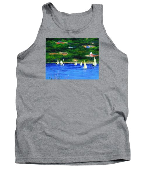 Sailboats On Hudson Tank Top by Anne Marie Brown