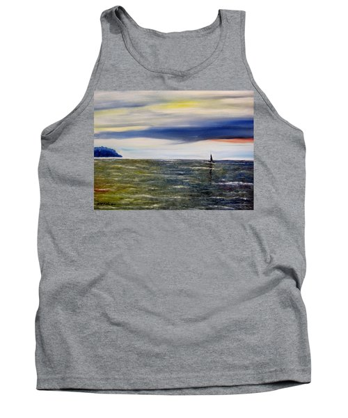 Tank Top featuring the painting Sailing At Dusk by Marilyn  McNish