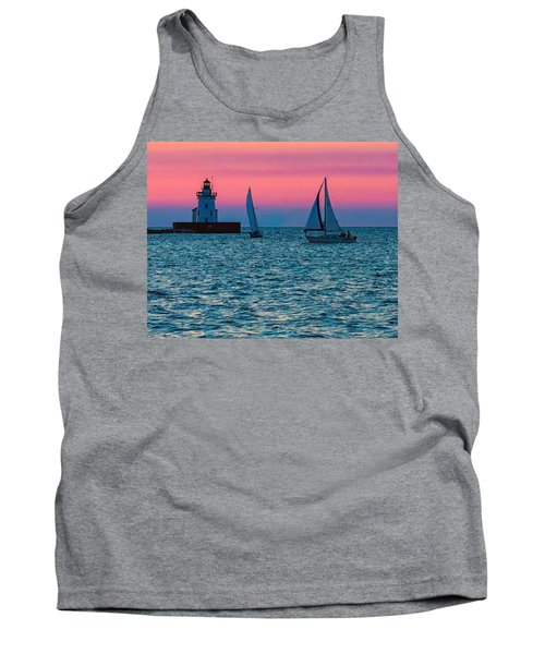 Sailing At The Cleveland Lighthouse  Tank Top