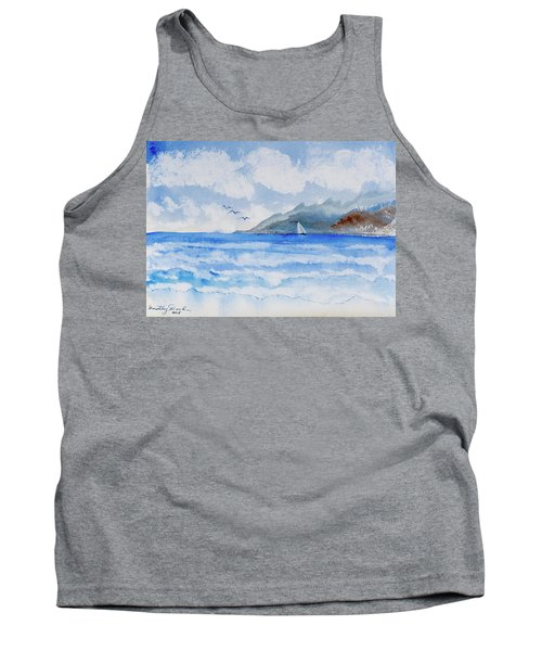 Tank Top featuring the painting Sailing Into Moorea by Dorothy Darden