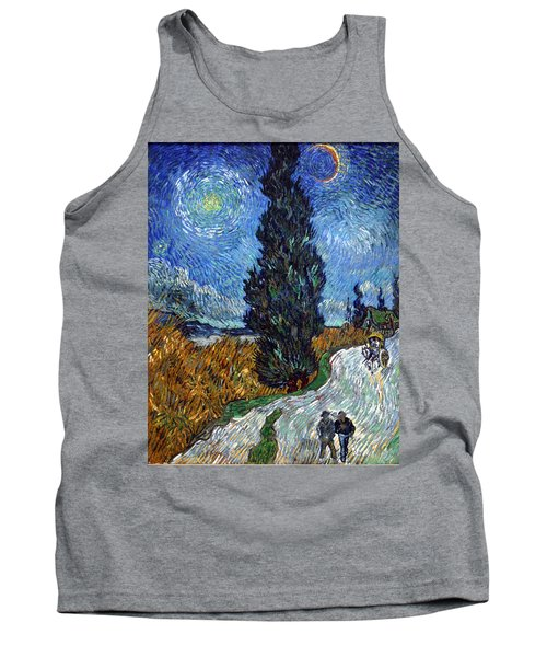 Saint-remy Road With Cypress And Star Tank Top