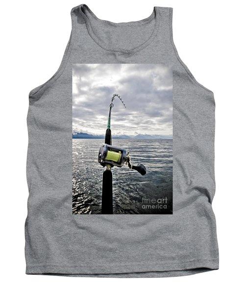 Salmon Fishing Rod Tank Top by Darcy Michaelchuk