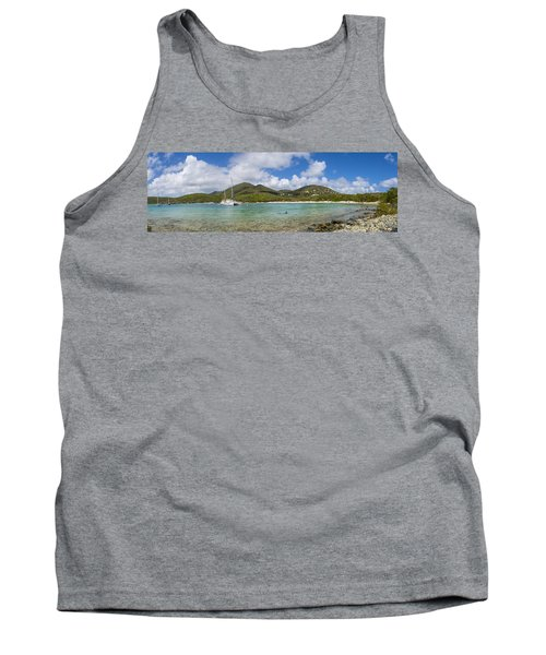 Tank Top featuring the photograph Salt Pond Bay Panoramic by Adam Romanowicz