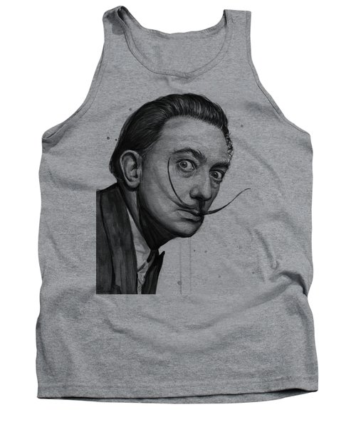 Salvador Dali Portrait Black And White Watercolor Tank Top