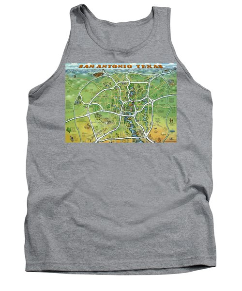 Tank Top featuring the painting San Antonio Texas Cartoon Map by Kevin Middleton