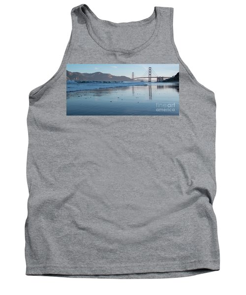 San Francisco Golden Gate Bridge Reflected On Baker's Beach Wet  Tank Top