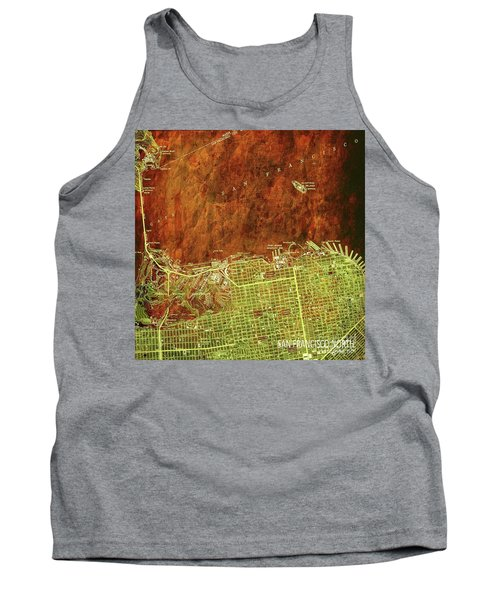 San Francisco Old Map, Green And Bronze, Vintage Paper Tank Top
