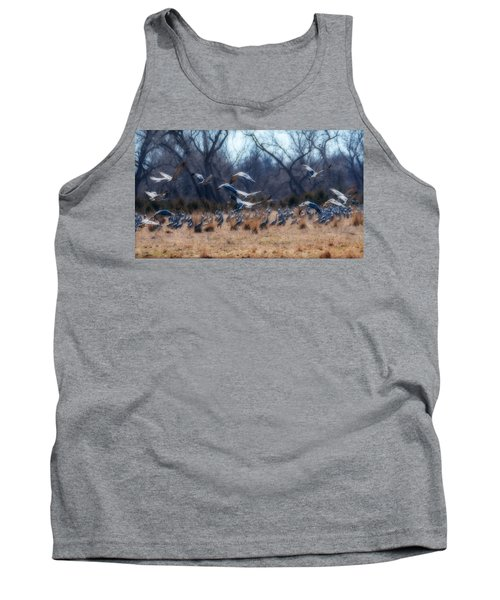 Tank Top featuring the photograph Sandhill Crane Taking Flight by Edward Peterson