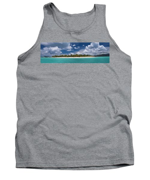 Tank Top featuring the photograph Sandy Cay Beach British Virgin Islands Panoramic by Adam Romanowicz