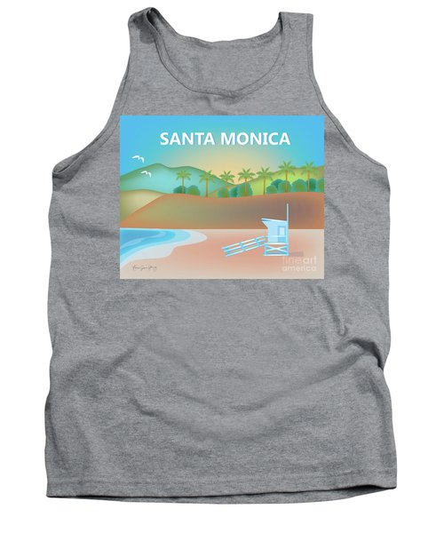 Santa Monica California Horizontal Scene Tank Top by Karen Young