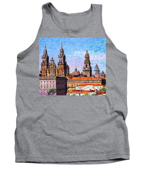 Tank Top featuring the painting Santiago De Compostela, Cathedral, Spain by Jane Small