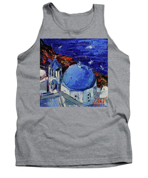 Santorini Blue Domed Church - Mini Cityscape 06 Tank Top