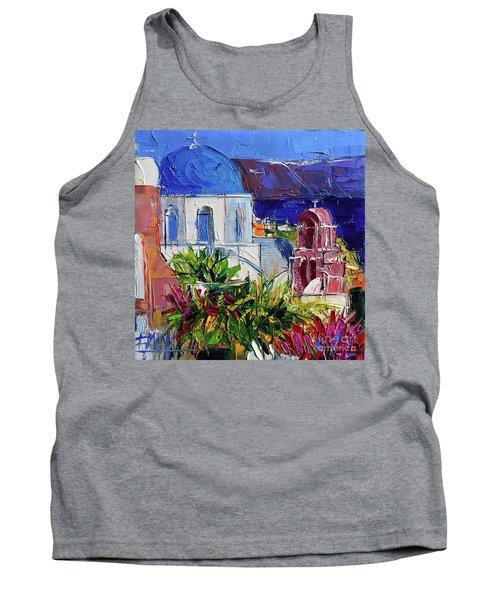 Santorini Church - Mini Cityscape 01 - Modern Impressionist Palette Knife Oil Painting Tank Top