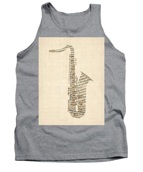 Saxophone Old Sheet Music Tank Top