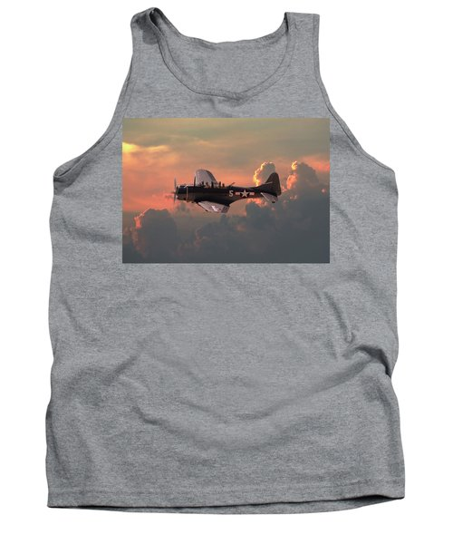 Tank Top featuring the digital art  Sbd - Dauntless by Pat Speirs