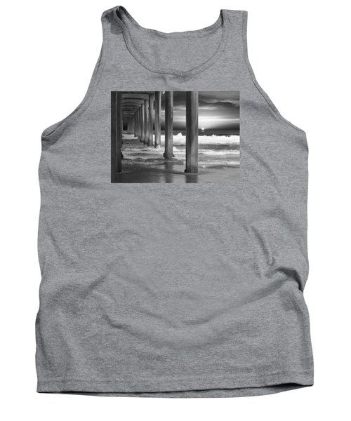 Scripps Pier At Sunset - Black And White Tank Top