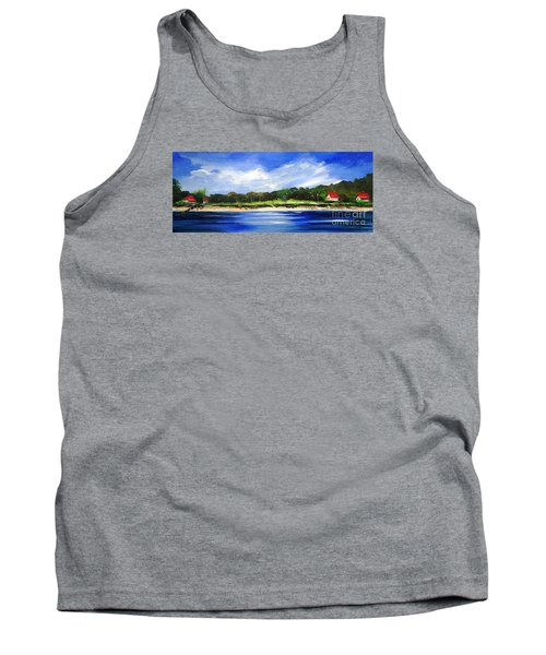 Tank Top featuring the painting Sea Hill Houses - Original Sold by Therese Alcorn