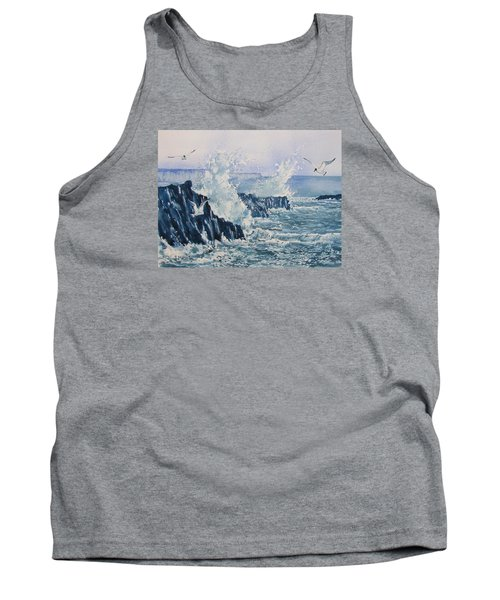 Sea, Splashes And Gulls Tank Top