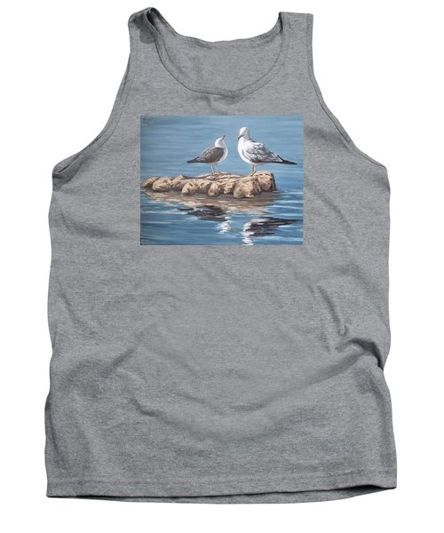 Seagulls In The Sea Tank Top by Natalia Tejera
