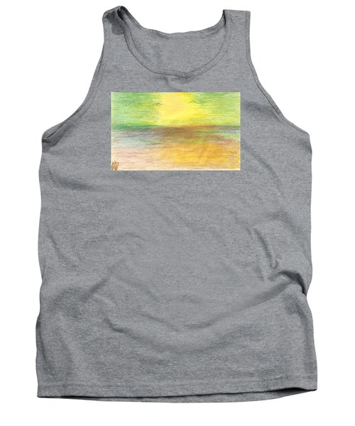 Tank Top featuring the drawing Seascape by Karen Nicholson