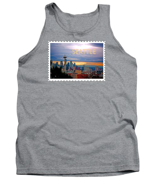 Seattle At Sunset Text Seattle Tank Top by Elaine Plesser