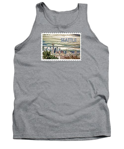 Seattle Skyline In Fog And Rain Text Seattle Tank Top by Elaine Plesser