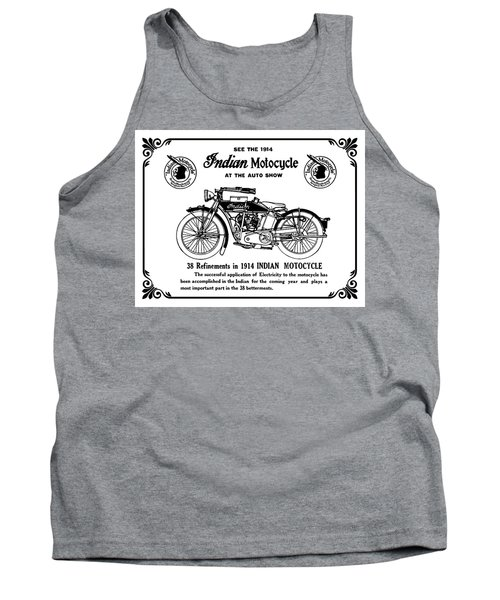 Tank Top featuring the mixed media See New 1914 Indian Motocycle At The Auto Show by Daniel Hagerman