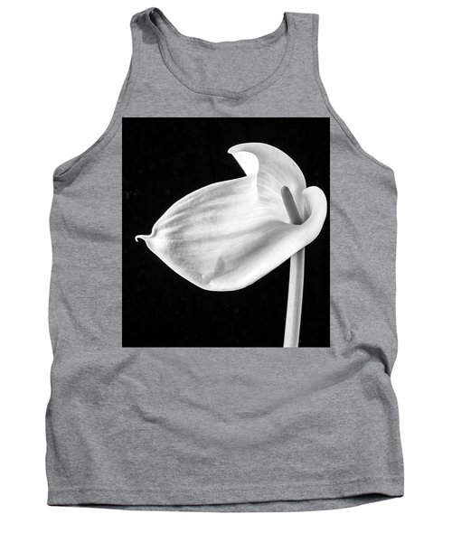Shapely Calla Lily Black And White Tank Top