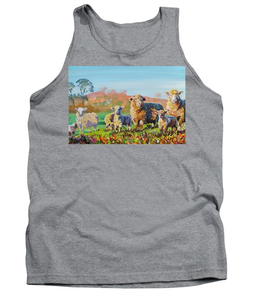 Sheep And Lambs In Devon Landscape Bright Colors Tank Top