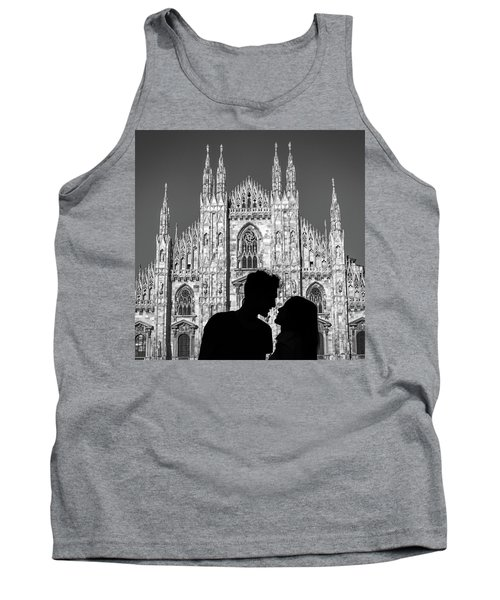 Silhouette Of Young Couple Kissing In Front Of Milan's Duomo Cathedral Tank Top