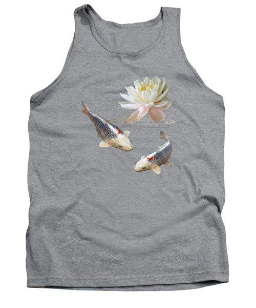 Silver And Red Koi With Water Lily Tank Top