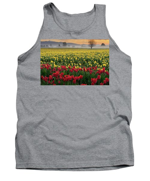 Tank Top featuring the photograph Skagit Valley Misty Morning by Dan Mihai
