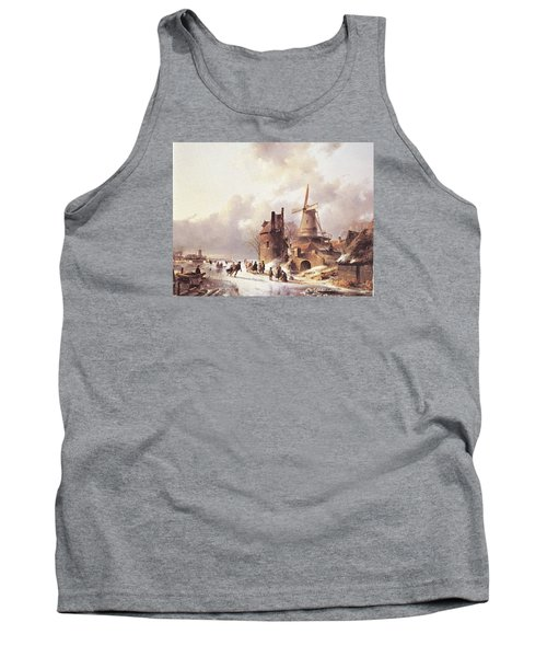 Skaters On A Frozen River Tank Top by Reynold Jay