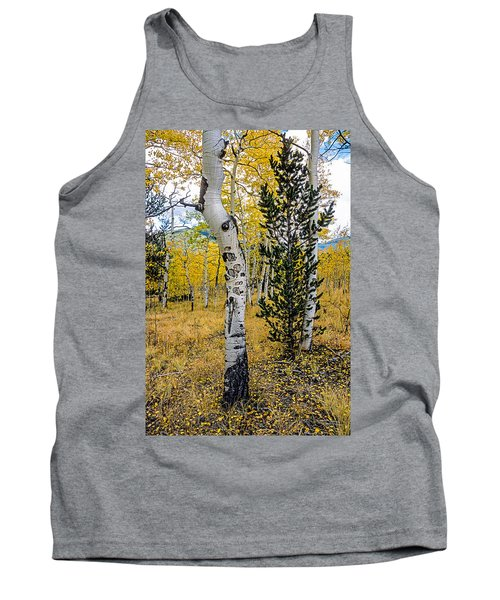 Slightly Crooked Aspen Tree In Fall Colors, Colorado Tank Top