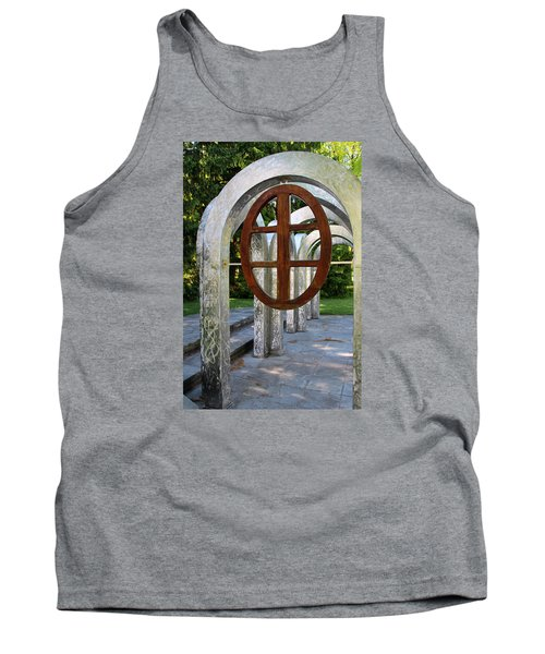 Tank Top featuring the photograph Small Park With Arches by Michiale Schneider