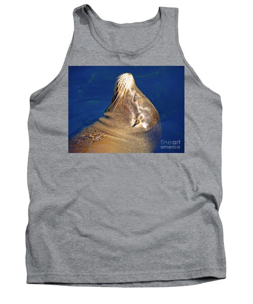 Tank Top featuring the photograph Smiling Seal In Blue Water by Maja Sokolowska