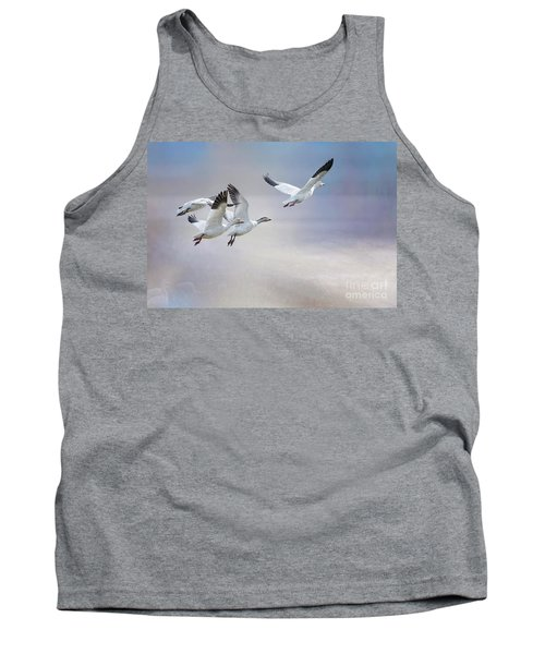 Tank Top featuring the photograph Snow Geese In Flight by Bonnie Barry