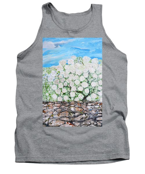 Tank Top featuring the painting Snowballs Flowers by Evelina Popilian