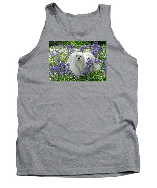 Tank Top featuring the mixed media Snowdrop In The Bluebell Woods by Morag Bates