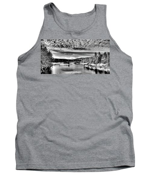 Snowy Day At The Green Bridge Tank Top by David Patterson