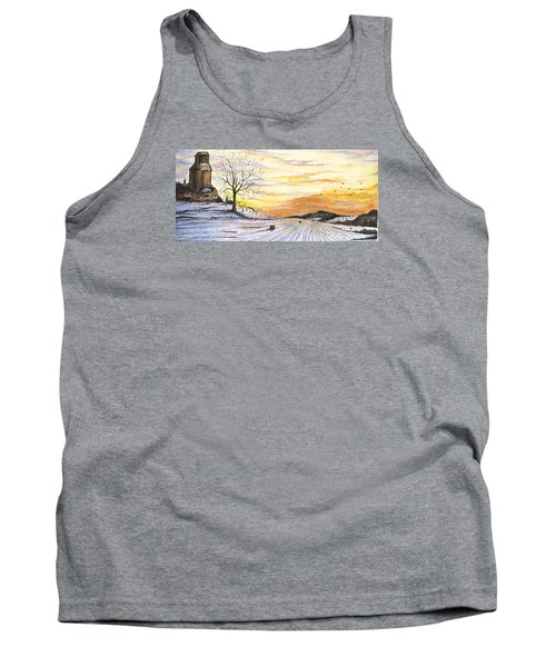 Tank Top featuring the digital art Snowy Farm by Darren Cannell