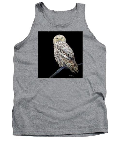Snowy Owl On Black Tank Top