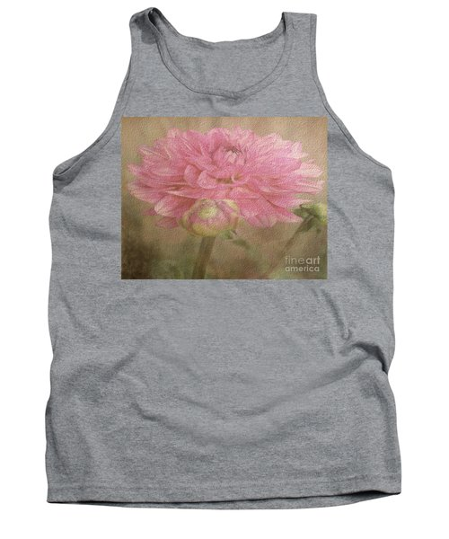 Soft Graceful Pink Painted Dahlia Tank Top