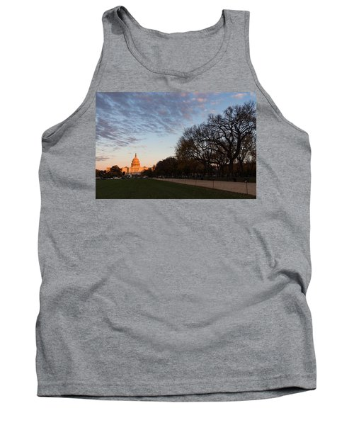 Soft Orange Glow - U S Capitol And The National Mall At Sunset Tank Top