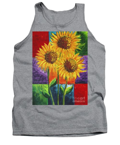 Tank Top featuring the painting Sonflowers I by Holly Carmichael