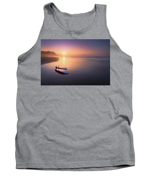 Sopelana Beach With Surfboards On The Shore Tank Top
